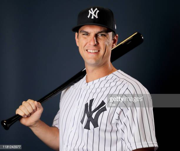 Greg Bird of the New York Yankees poses for a portrait during the New York Yankees Photo Day on February 21 2019 at George M Steinbrenner Field in...