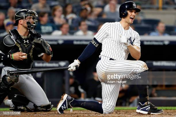 Greg Bird of the New York Yankees reacts during an at bat against the Chicago White Sox during the fifth inning at Yankee Stadium on August 29 2018...