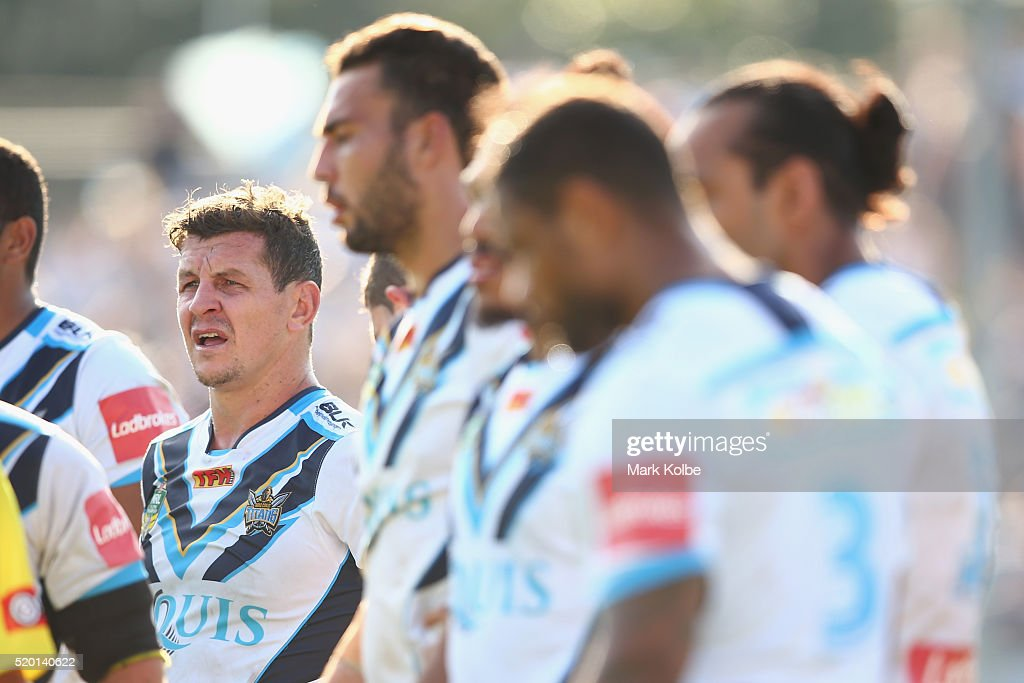 Greg Bird of the Titans looks dejected after a try during the round six NRL match between the Cronulla Sharks and the Gold Coast Titans at Southern Cross Group Stadium on April 10, 2016 in Sydney, Australia.