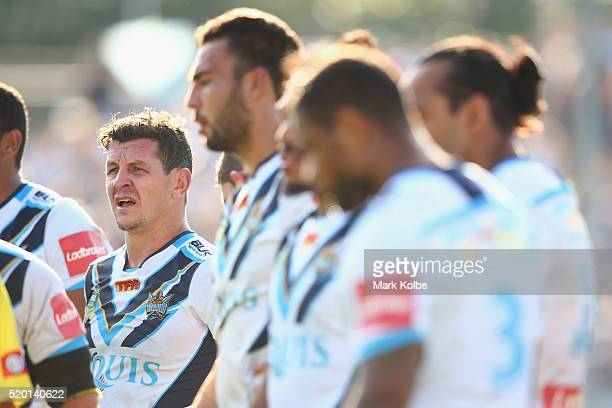 Greg Bird of the Titans looks dejected after a try during the round six NRL match between the Cronulla Sharks and the Gold Coast Titans at Southern...