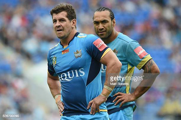 Greg Bird of the Titans looks on before the round nine NRL match between the Gold Coast Titans and the Melbourne Storm on May 1 2016 in Gold Coast...