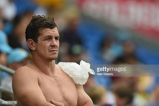 Greg Bird of the Titans looks on with ice on his shoulder during the round nine NRL match between the Gold Coast Titans and the Melbourne Storm on...