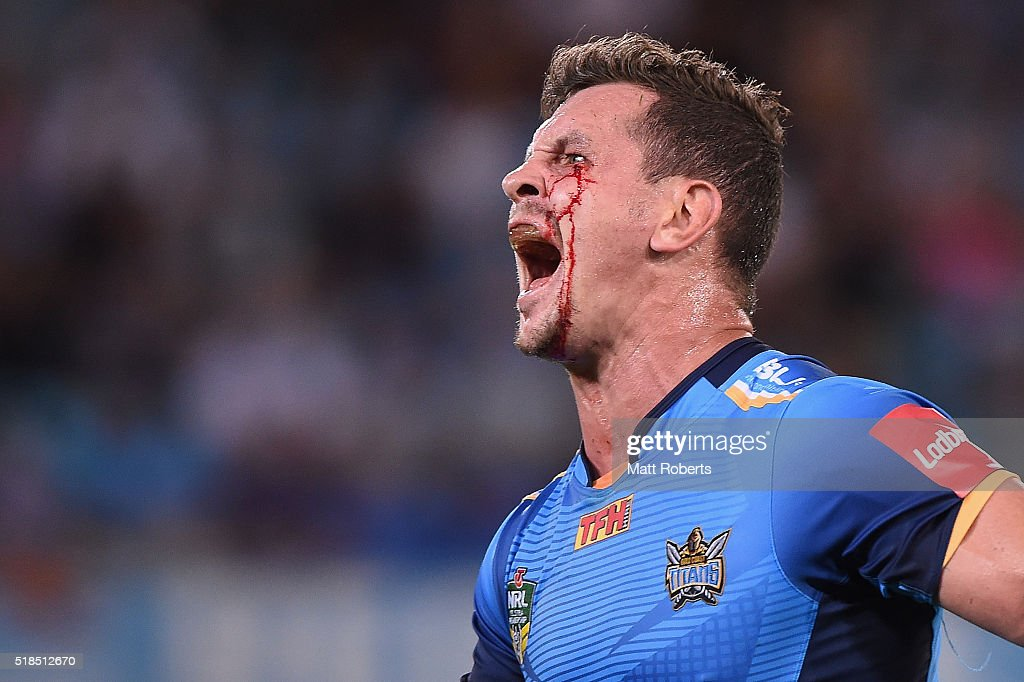 Greg Bird of the Titans reacts during the round five NRL match between the Gold Coast Titans and the Brisbane Broncos at Cbus Super Stadium on April 1, 2016 in Gold Coast, Australia.
