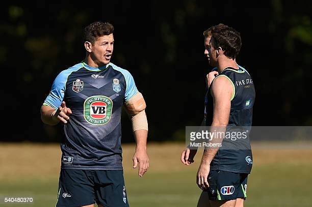 Greg Bird speaks to his team mates during a New South Wales Blues State of Origin training session on June 16 2016 in Coffs Harbour Australia