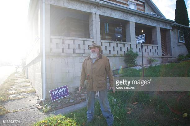 Greg Blank a Donald Trump supporter stands outside his residence October 22 2016 in Abbottstown Pennsylvania Trump delivered a policy speech in...