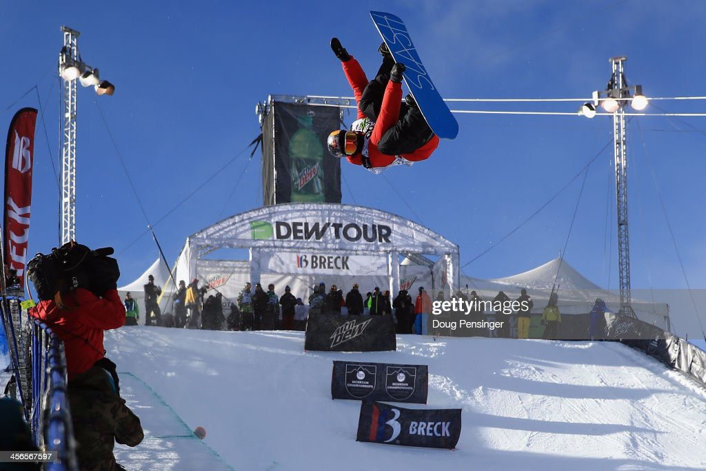 Greg Bretz soars above the halfpipe during practice before going on to win the men's snowboard superpipe final at the Dew Tour iON Mountain Championships on December 14, 2013 in Breckenridge, Colorado.