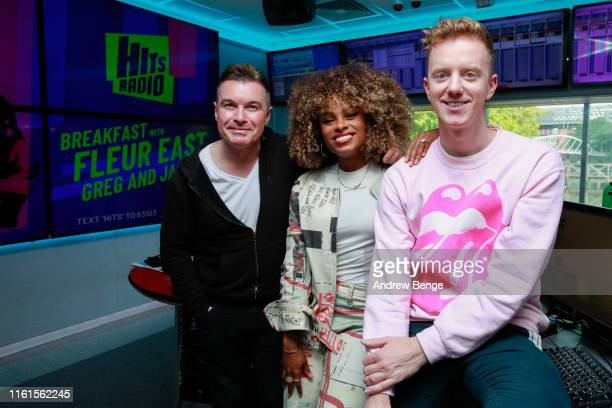 Greg Burns Fleur East and James Barr attends the launch of the new Hits Radio breakfast show with Fleur East Greg Burns and James Barr at Hits Radio...