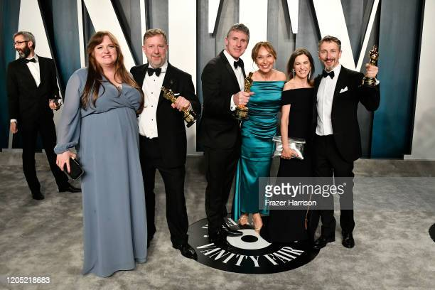 Greg Butler and Dominic Tuohy attend the 2020 Vanity Fair Oscar Party hosted by Radhika Jones at Wallis Annenberg Center for the Performing Arts on...