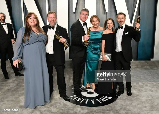 Greg Butler , Dominic Tuohy and Stuart Wilson attend the 2020 Vanity Fair Oscar Party hosted by Radhika Jones at Wallis Annenberg Center for the...