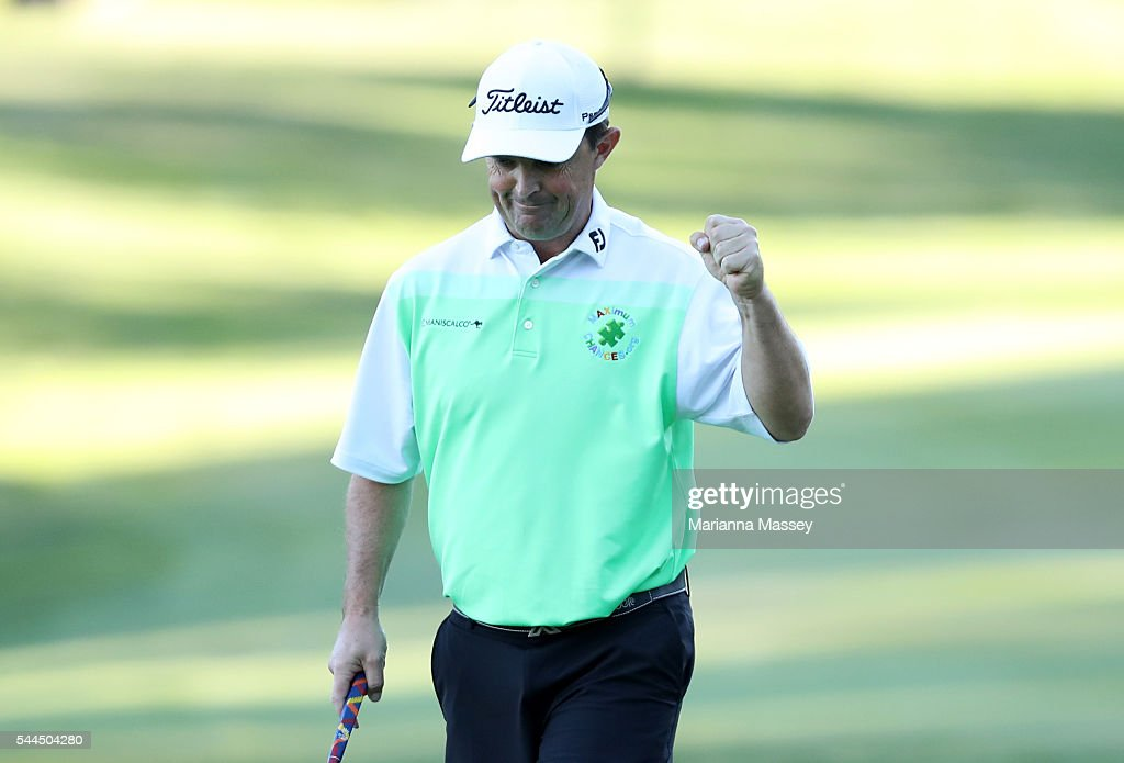 Greg Chalmers of Australia celebrates after putting in to win on the 18th green during the final round of the Barracuda Championship at the Montreux Golf and Country Club on July 3, 2016 in Reno, Nevada.