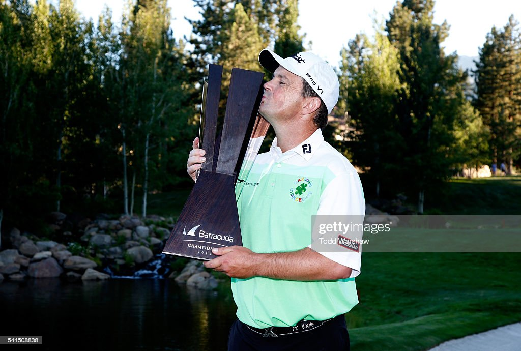 Greg Chalmers of Australia poses with the trophy during the final round of the Barracuda Championship at the Montreux Golf and Country Club on July 3, 2016 in Reno, Nevada.
