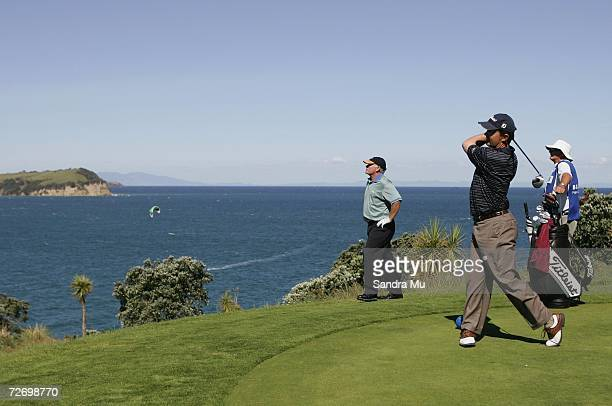 Greg Chalmers of Australia tees off on the 16th hole during round three of the New Zealand Open at Gulf Harbour Country Club on the Whangaparoa...