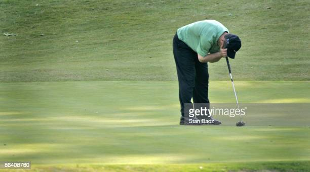 Greg Chalmers reacts to his missed putt at the 18th green during the second round of the Rex Hospital Open May 7 held at TPC of Wakefield Plantation...