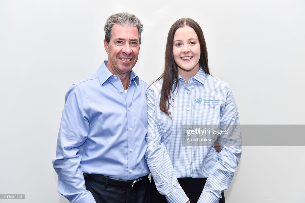 Greg Childs and Tayla Childs at the Apprentice Jockeys Induction at Racing Victoria on February 14, 2018 in Flemington, Australia.