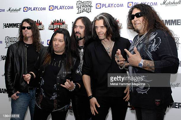 Greg Christian, Eric Peterson, Paul Bostaph, Alex Skolnick and Chuck Billy of American thrash metal group Testament, taken on June 6, 2008 at the...
