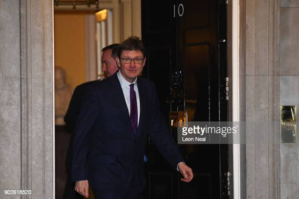 Greg Clark the Secretary of State for Business Energy and Industrial Strategy leaves 10 Downing Street as Prime Minister Theresa May reshuffles her...