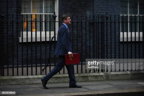 Greg Clark the Secretary of State for Business Energy and Industrial Strategy leaves 10 Downing Street after attending the first Cabinet meeting of...