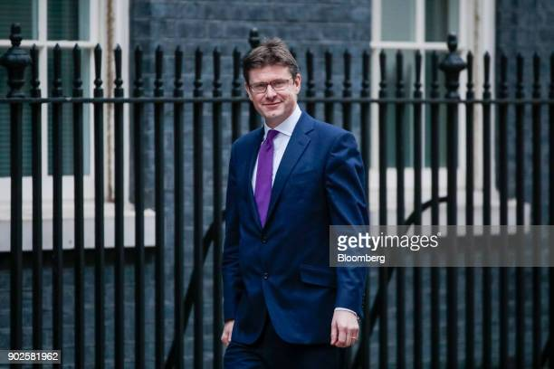 Greg Clark UK business secretary arrives at number 10 Downing Street in London UK on Monday Jan 8 2018 Theresa Maybid farewell to 2017 by firing her...