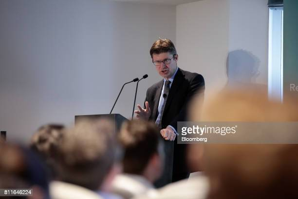 Greg Clark UK business secretary gestures while delivering a speech on industrial strategy to the Resolution Foundation in London UK on Monday July...