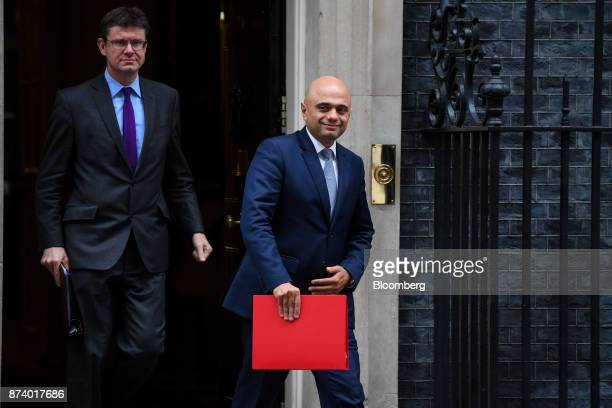 Greg Clark UK business secretary left and Sajid Javid UK communities secretary leave following a cabinet meeting at number 10 Downing Street in...