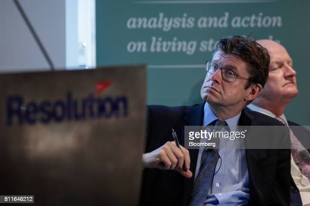 Greg Clark UK business secretary listens ahead of delivering a speech on industrial strategy to the Resolution Foundation in London UK on Monday July...
