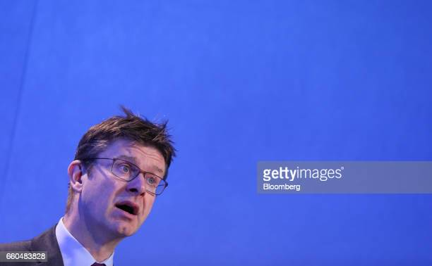 Greg Clark UK business secretary speaks during the SMMT Connected 2017 conference on autonomous vehicles in London UK on Thursday March 30 2017 In a...