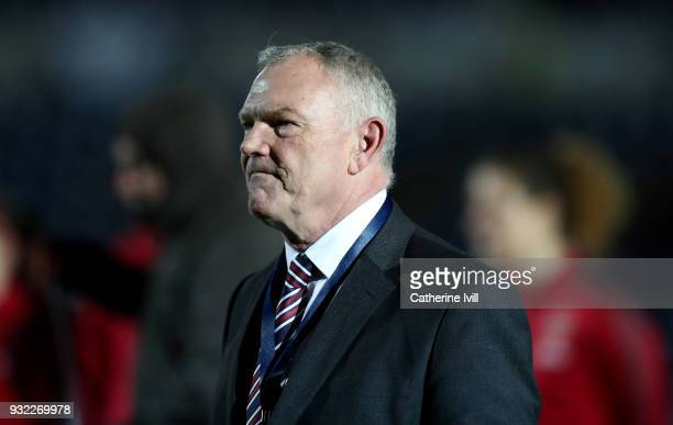Greg Clarke, chairman of the FA during the WSL Continental Cup Final between Arsenal Women and Manchester City Ladies at Adams Park on March 14, 2018...