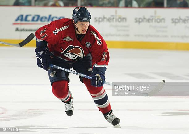 Greg Classen of the Milwaukee Admirals skates during the game against the Chicago Wolves at Allstate Arena on November 19 2005 in Rosemont Illinois...