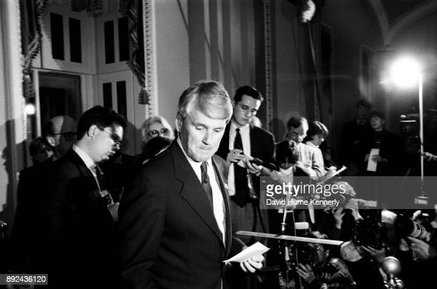 Greg Craig special counsel to President Bill Clinton speaks with reporters at a news conference in the US Capitol Building during the Senate...