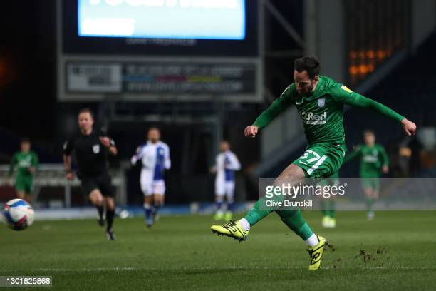 Greg Cunningham of Preston North End scores the first goal during the Sky Bet Championship match between Blackburn Rovers and Preston North End at...