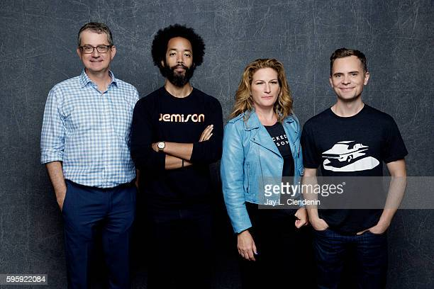 Greg Daniels Wyatt Cenac Ana Gasteyer and David Jenkins of 'People of Earth' is photographed for Los Angeles Times at San Diego Comic Con on July 22...