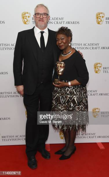 Greg Davies and Emma Thomas pose in the winners room at the British Academy Television Craft Awards at The Brewery on April 28, 2019 in London,...