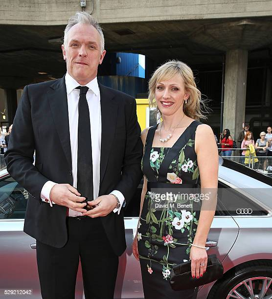 Greg Davies and guest arriving in a Audi at the top of the red carpet for the BAFTA TV Awards 2016 at the Royal Festival Hall on May 8 2016 in London...