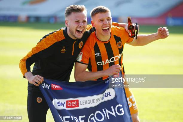 Greg Docherty and James Scott of Hull City during the Sky Bet League One match between Lincoln City and Hull City at Sincil Bank Stadium on April 24,...