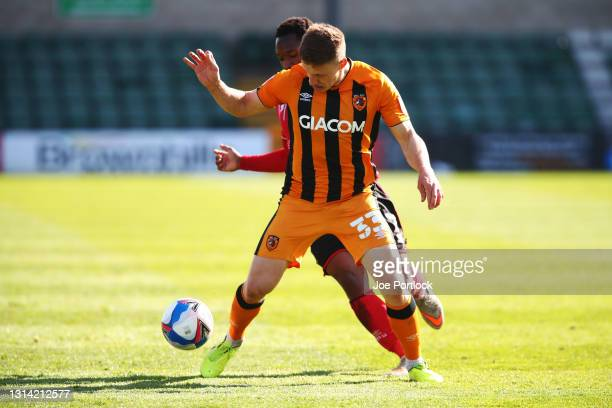 Greg Docherty of Hull City during the Sky Bet League One match between Lincoln City and Hull City at Sincil Bank Stadium on April 24, 2021 in...