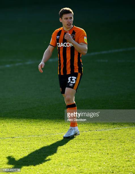 Greg Docherty of Hull City looks on during the Sky Bet League One match between AFC Wimbledon and Hull City at Plough Lane on February 27, 2021 in...
