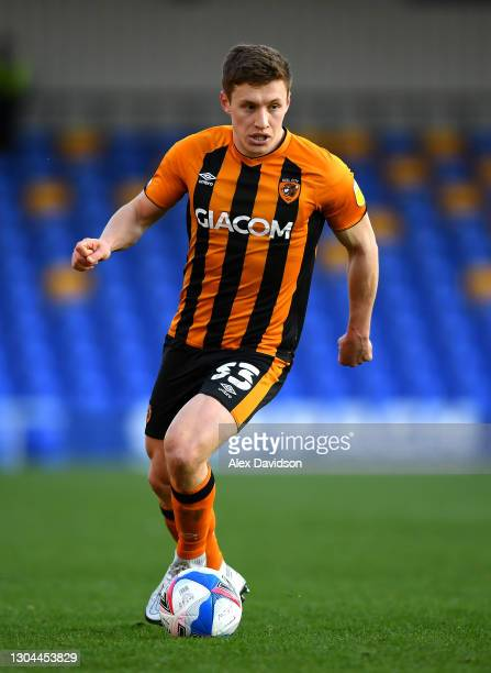 Greg Docherty of Hull City runs with the ball during the Sky Bet League One match between AFC Wimbledon and Hull City at Plough Lane on February 27,...