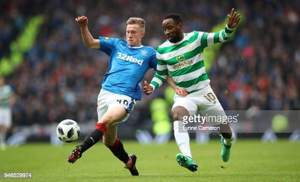 Greg Docherty of Rangers and Moussa Dembele of Celtic during the Scottish Cup Semi Final between Rangers and Celtic at Hampden Park on April 15 2018...