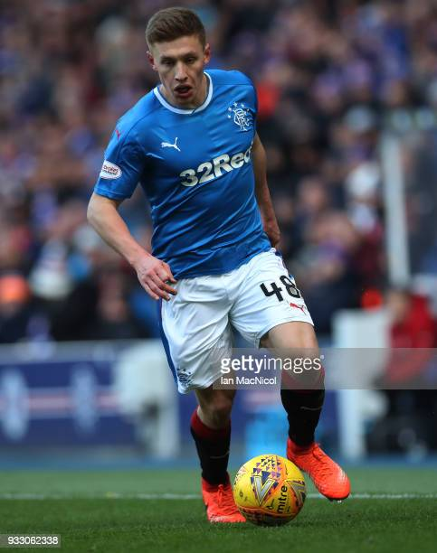 Greg Docherty of Rangers controls the ball during the Ladbrokes Scottish Premiership match between Rangers and Kilmarnock at Ibrox Stadium on March...