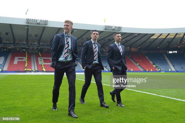 Greg Docherty of Rangers Graham Dorrans of Rangers and Jason Holt of Rangers inspect the pitch prior to the Scottish Cup Semi Final match between...