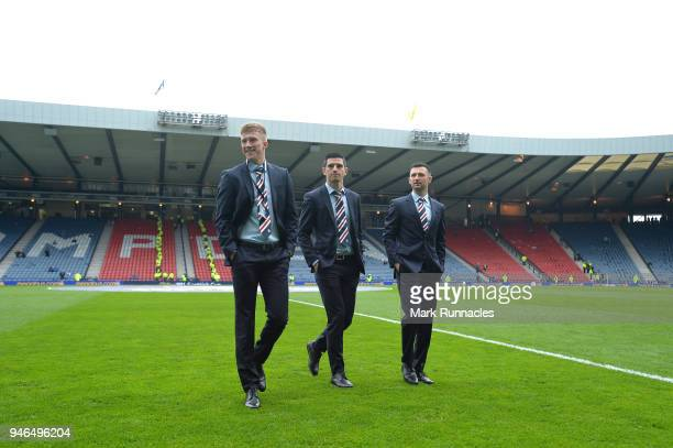 Greg Docherty of Rangers Graham Dorrans of Rangers and Jason Holt of Rangers take a look around the pitch prior to the Scottish Cup Semi Final match...