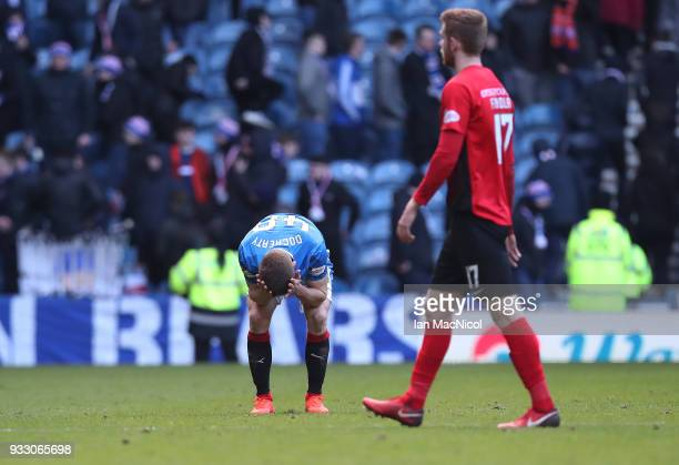 Greg Docherty of Rangers reacts at full time during the Ladbrokes Scottish Premiership match between Rangers and Kilmarnock at Ibrox Stadium on March...