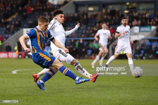 Greg Docherty of Shrewsbury Town scores a goal to make it 10 during the FA Cup Fourth Round match between Shrewsbury Town and Wolverhampton Wanderers...