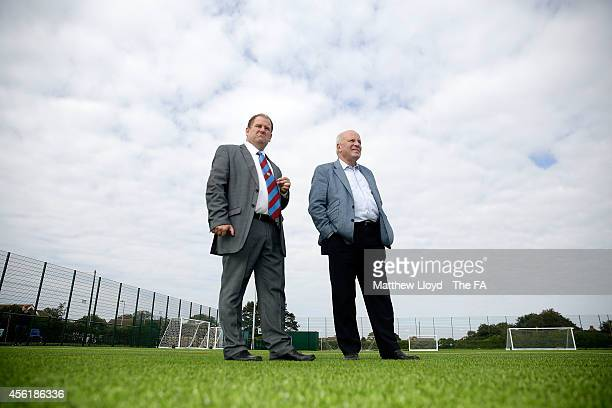 Greg Dyke, Chairman of the FA inspects the new 3G Astroturf pitch at Kirkley and Pakefield Football Club on September 27, 2014 in Lowestoft, England....