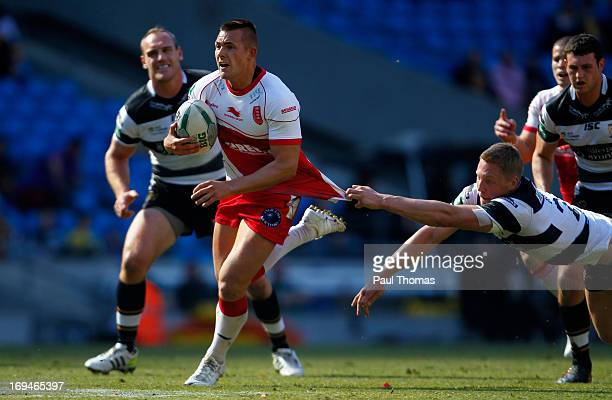 Greg Eden of Hull KR runs into score a try during the Super League Magic Weekend match between Hull FC and Hull Kingston Rovers at the Etihad Stadium...