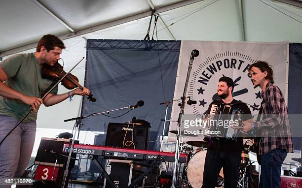 Greg Farley Jame Felice and Ian Felice of the Felice Brothers perform during the Newport Folk Festival 2015 at Fort Adams State Park on July 24 2015...