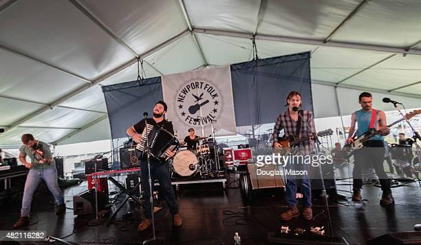 Greg Farley Jame Felice David Estabrooks Ian Felice and Josh Rawson of the Felice Brothers perform during the Newport Folk Festival 2015 at Fort...