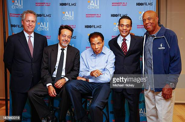 Greg Fischer Len Amato Muhammad Ali Donald Lassere and Howard Bingham appear as HBO Films and the Muhammad Ali Center cohost the US Premiere of...