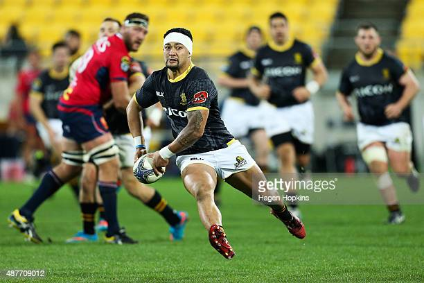 Greg Foe of Wellington looks to pass during the round five ITM Cup match between Wellington and Tasman at Westpac Stadium on September 11, 2015 in...