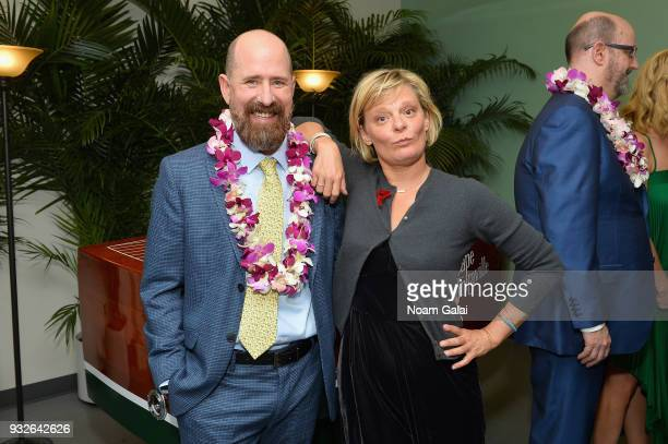 Greg Garcia and Martha Plimton attend the Broadway premiere of 'Escape to Margaritaville' the new musical featuring songs by Jimmy Buffett at the...